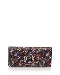 Marc Jacobs Open Face Garden Paisley Print Saffiano Leather Wallet Purple Multi Silver