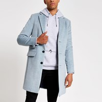 River Island Blue Marl Single Breasted Wool Overcoat