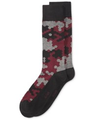 Alfani Men's Abstract Hex Socks Only At Macy's Burgundy