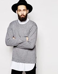 Cheap Monday Crew Knit Jumper Melange Usedblackalleygre