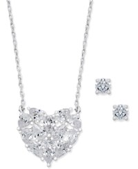 Charter Club Silver Tone Crystal Heart Pendant Necklace And Crystal Stud Earrings Set Only At Macy's