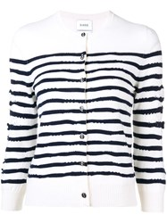 Barrie Cashmere Striped Cardigan White