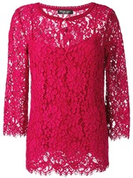 Twin Set Longsleeved Lace Blouse Pink And Purple