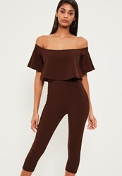Missguided Brown Double Layer Bardot Cropped Jumpsuit