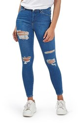 Topshop Women's Moto 'Leigh' Super Ripped Ankle Skinny Jeans Mid Denim