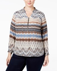 Ny Collection Plus Size Printed Zip Front Shirt Tan Distinct