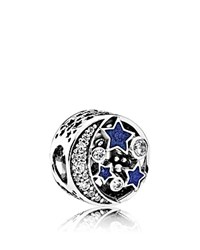 Pandora Design Charm Sterling Silver Blue Enamel And Cubic Zirconia Vintage Night Moments Collection