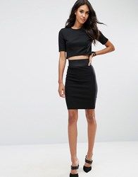 Asos High Waisted Pencil Skirt With Elastic Sides Black