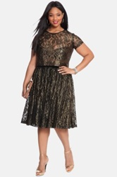 Eloquii Metallic Lace Midi Skirt Plus Size