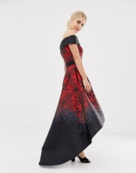 Chi Chi London Satin Midi Dress With Extreme High Low In Dark Rose Print Black Multi