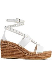 Jimmy Choo Woman Danica Studded Leather Wedge Espadrille Sandals White