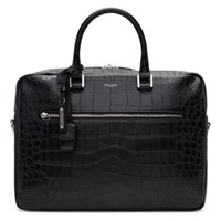 Saint Laurent Black Croc Sac De Jour Souple Briefcase