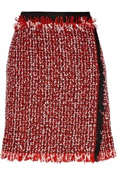 Lanvin Wrap Effect Cotton Blend Tweed Mini Skirt