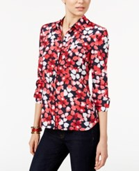 Tommy Hilfiger Printed Roll Tab Shirt Only At Macy's Scarlet Multi