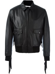 Givenchy Fringed Bomber Jacket Black