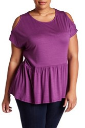 Gibson Cold Shoulder Peplum Blouse Plus Size Purple