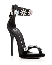 Giuseppe Zanotti Coline Embellished Ankle Strap High Heel Sandals Black
