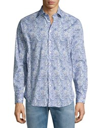 Etro Allover Paisley Printed Sport Shirt Blue