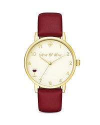 Kate Spade New York Wine Metro Leather Strap Watch 34Mm Tan