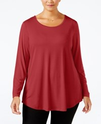 Jm Collection Plus Size Scoop Neck Swing Top Only At Macy's New Red Amore