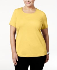 Karen Scott Plus Size Cotton Scoop Neck T Shirt Only At Macy's Buttercup Yellow