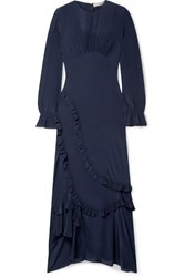 Preen Line Gabriella Asymmetric Ruffled Crepe De Chine Maxi Dress Midnight Blue