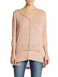 Bobeau Marled Knit V Neck Sweater Blush