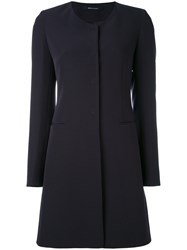 Tagliatore Fitted Coat Women Polyester Spandex Elastane Cupro 40 Blue