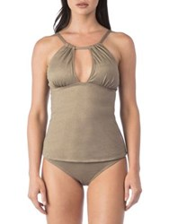Kenneth Cole Reaction High Neck Tankini Top Champagne