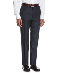 Brioni Wool Flat Front Trousers Navy
