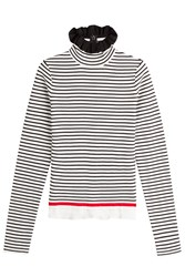 Msgm Striped Cotton Turtleneck Pullover Stripes
