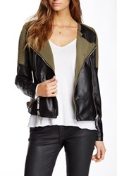 Fillmore Moto Cross Mixed Media Faux Leather Jacket Green