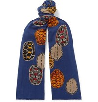 Man 1924 Lovatandgreen Fringed Printed Cotton Scarf Blue