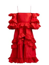 Alexachung Tiered Ruffle Off The Shoulder Midi Dress Red