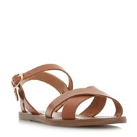 Dune Laila Cross Vamp Flat Sandals Tan