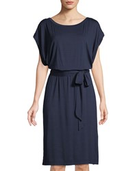 Three Dots Dolman Sleeve Tie Waist Jersey Dress Navy