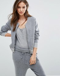 Micha Lounge Stripe Cuff Knitted Bomber Jacket Grey