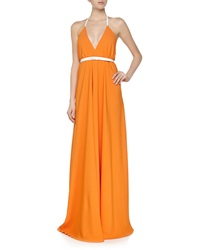 Victoria Beckham Open Back Halter Swing Gown Orange White