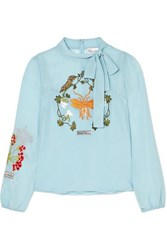 Red Valentino Redvalentino Bow Embellished Embroidered Chiffon Blouse Light Blue