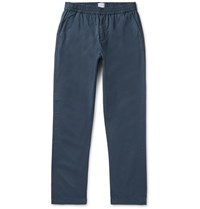 Sunspel Navy Garment Dyed Cotton Twill Drawstring Trousers Blue