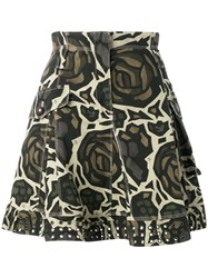Fay Roses Camouflage Skirt Green