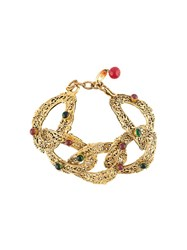 Chanel Vintage Filigree Linked Bracelet Metallic