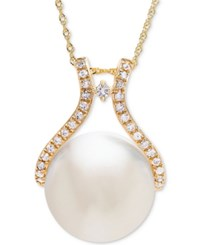 Honora Style Cultured White Ming Pearl 13Mm And Diamond 1 5 Ct. T.W. Pendant Necklace In 14K Gold Yellow Gold