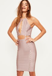 Missguided Purple Bandage Keyhole Ring Detail Midi Dress Mauve