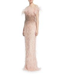 Pamella Roland Feather And Sequined Illusion Gown Blush
