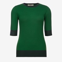 Bally Color Blocked Wool Sweater Green Multigrass