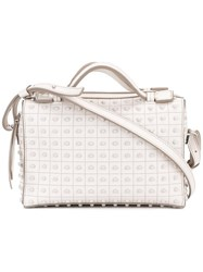 Tod's Studded Boxy Tote Nude Neutrals