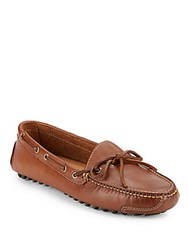 Cole Haan Lace Tie Leather Driver Loafers Brown