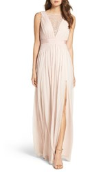 Adrianna Papell Women's Tulle And Lace Gown Blush