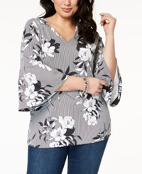 Charter Club Plus Size Flared Sleeve Tunic Created For Macy's Deep Black Combo